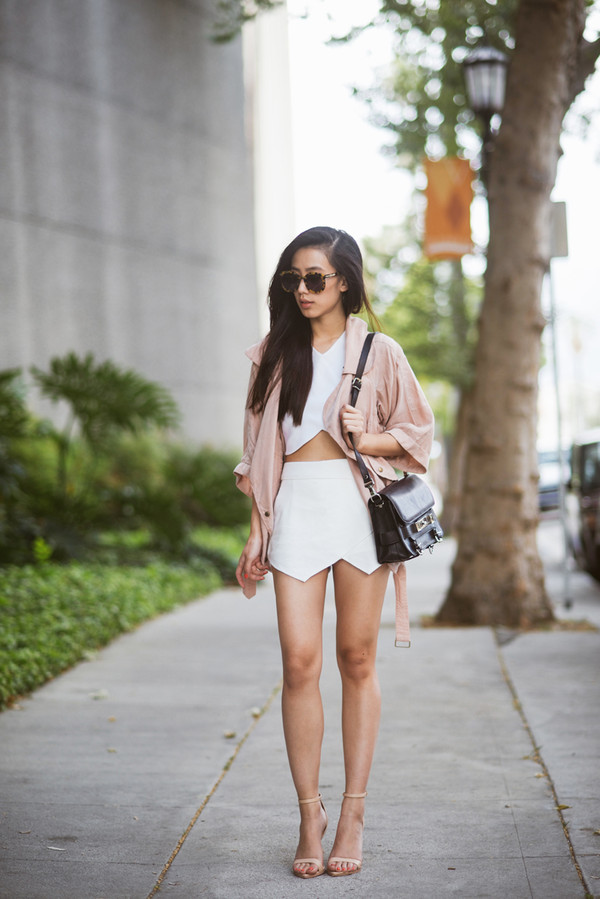 neon blush jacket t-shirt skirt sunglasses shoes coat pastel pink coat stretch