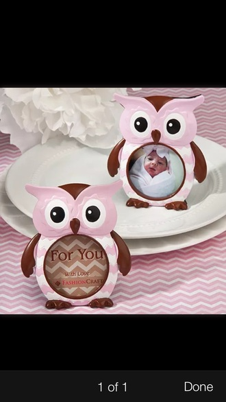 home accessory owl pink frame girly