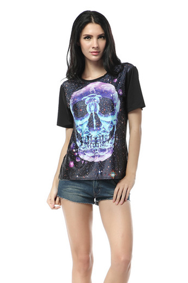 Black galaxy skull print tee top