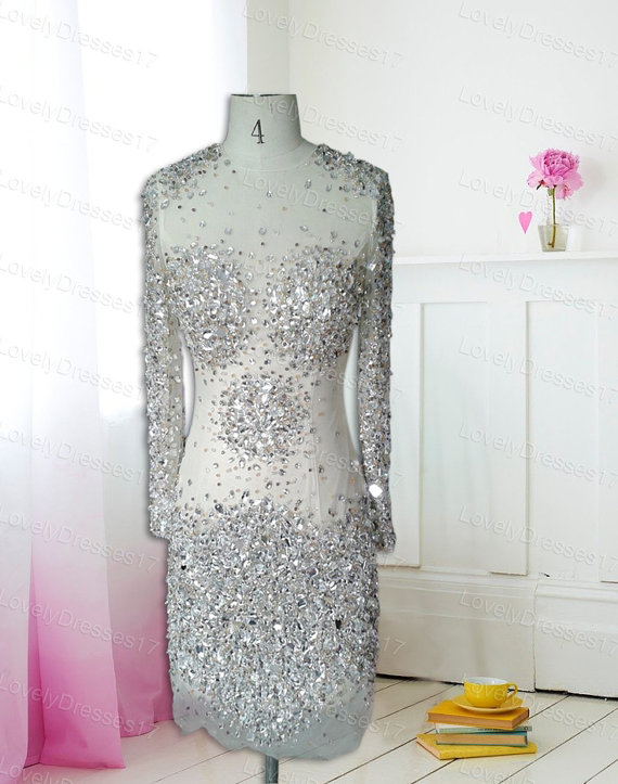 Luxurious rhinestones transparent sheath/column by lovelydresses17