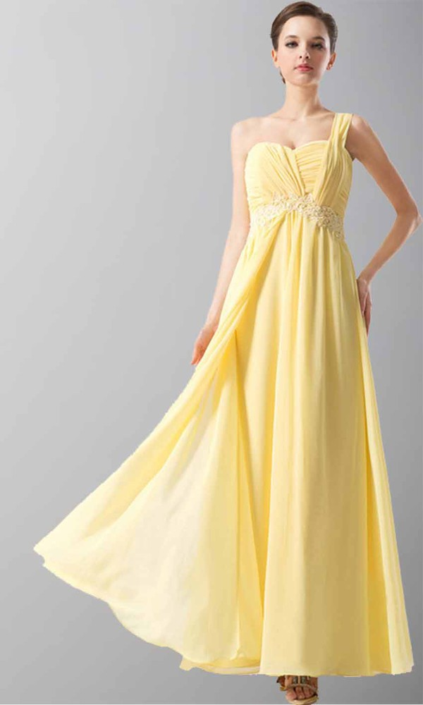 yellow dress one shoulder dresses empire waist dress long prom dress bridesmaid bridesmaid layered shirt single shoulder dress