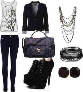 heels black heels necklace skinny pants leather bag