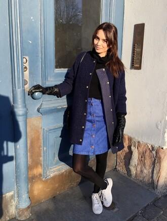 by funda blogger gloves winter coat denim skirt coat skirt shoes
