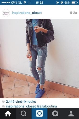 jeans ripped jeans blue jeans blue ripped jeans black jacket adidas pharrell adidas pharrell blue