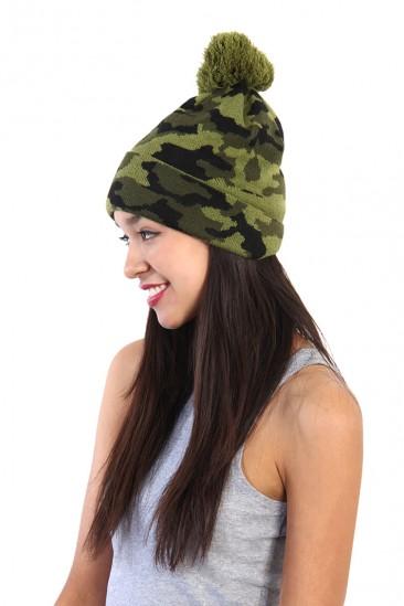 OMG Army Camo Pom Pom Beanie