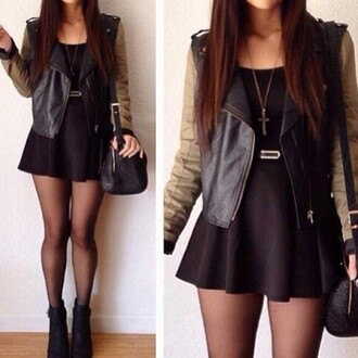 coat jewels dress beautiful black dress statement necklace cross clutch tights cropped jacket khaki jacket leather jacket beige skirt black tumblr boots black skirt black boots shoes hair accessory leather