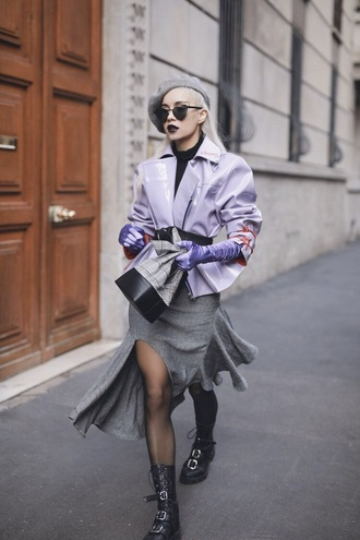 jacket lilac skirt grey skirt boots black boots sunglasses leather jacket slit skirt bag bucket bag hat