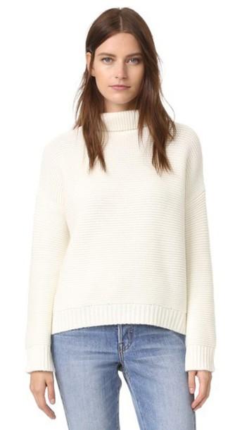 Vince Cowl Horizontal Rib Sweater - Winter White