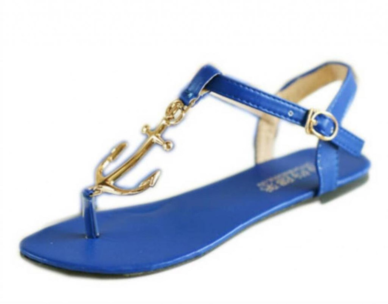Amazon.com: LUNA Women's Metal Anchor Sandals Pu Leather Flat Flip Shoes 3 Colors: Shoes