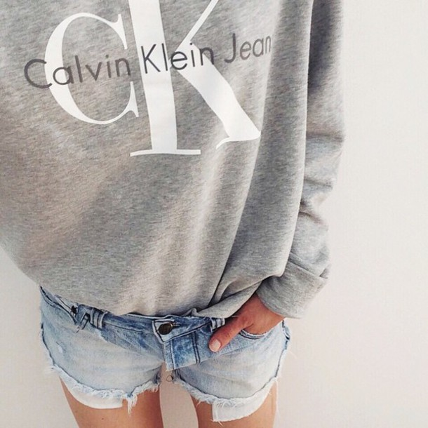 99e1ed5888 top tumblr sweatshirt grey top shorts denim shorts blue shorts calvin klein