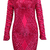 Long Sleeve Sequined Bandage Dress Red