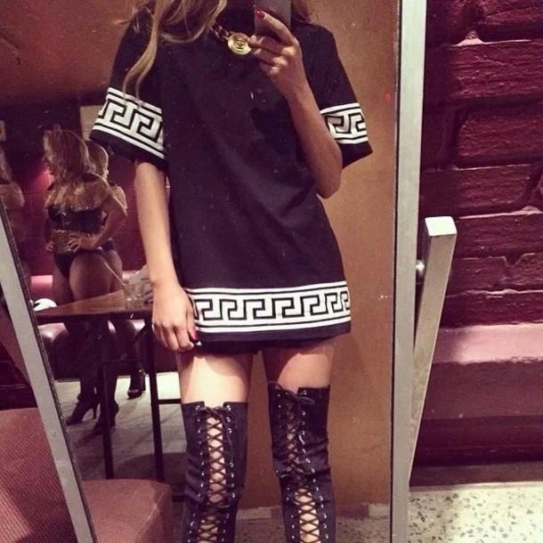 t-shirt black versace