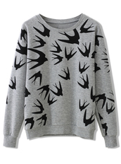shirt,grey,swallow,fall outfits,print,casual,sweatshirt,birds,sweater