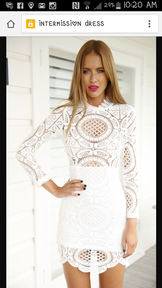 dress white lace white dress long sleeves madeline stuart