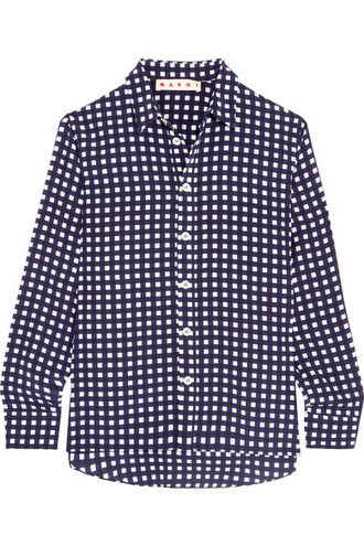 shirt navy silk top