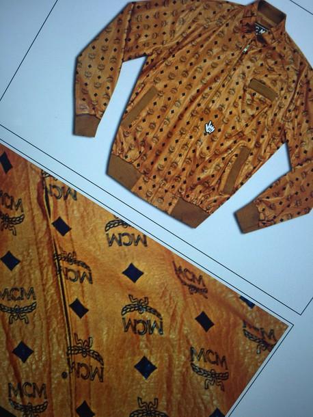 coat cognac mcm bomber jacket vintage rare