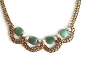 jewels,frivolous fun boutique,gold,etsy,gold jewelry,pearl,pearl necklace,green,green jewelry,green necklace,chain,gold chain,ooak,ooak jewelry,unique jewelry