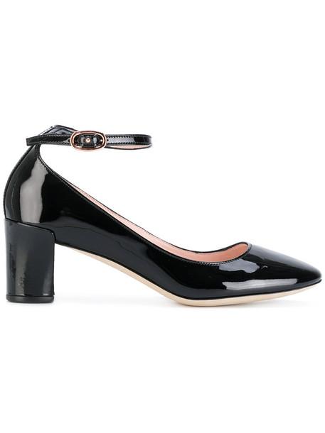 ankle strap women pumps leather black shoes