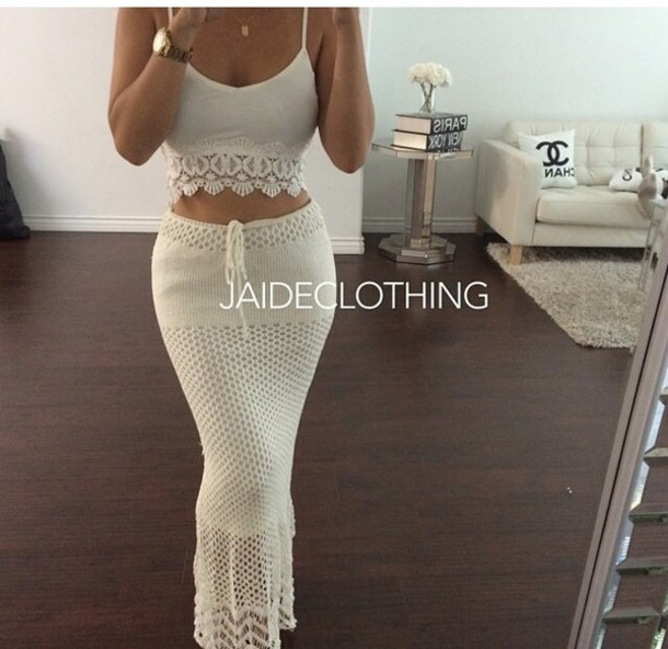 Skirt Crochet Crop Top Crochet Two Piece Two Piece Crochet