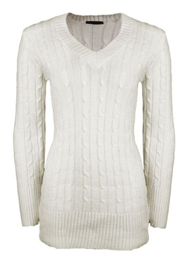 LADIES PLAIN V-NECK LONG SLEEVE CABLE KNITTED JUMPERS WOMENS SWEATER TOP | eBay