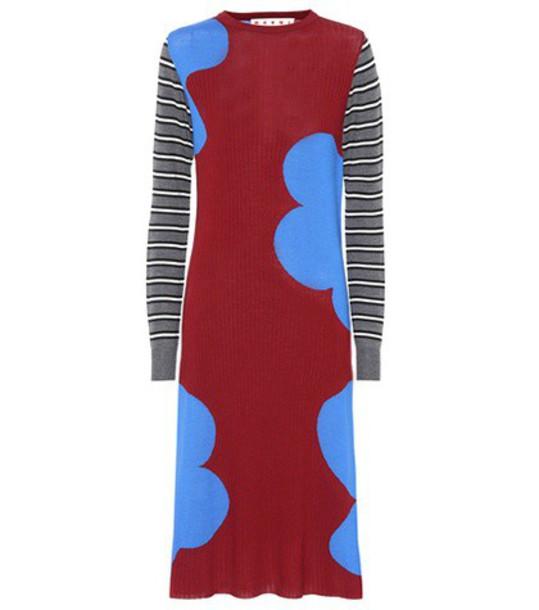 MARNI dress sweater dress wool red