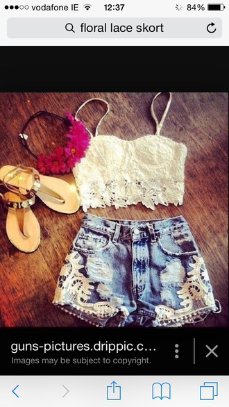 shorts denim shorts white lace top