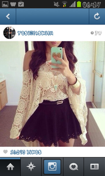 blouse crochet crop top shirt skirt beautiful classy cream