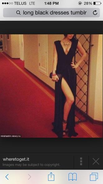 black dress low front v neck dress
