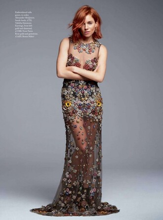 dress sheer see through dress sienna miller floral floral dress editorial embellished embellished dress gown prom dress