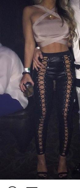 c06b505bb2 pants lace up leggings black leather lace up pants sexy sexy outfit party  outfits black pants
