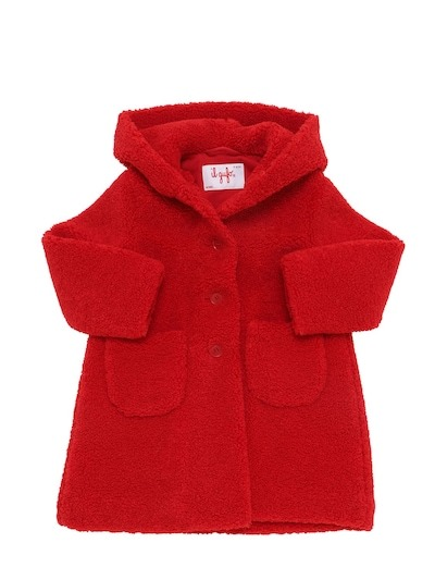 IL GUFO Hooded Terrycloth Coat Red