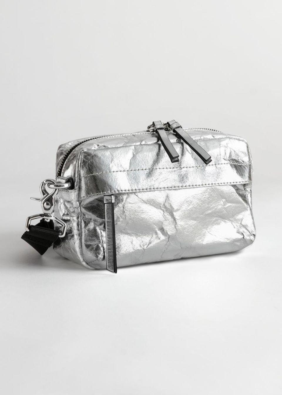 Metallic Textured Crossbody Bag