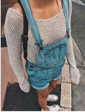 sweater,jumper,knit,denim,denim play suit,romper,converse,denim overalls,short overalls,fine knit jumper,knitted sweater,shorts,blue,beige,nude,jumpsuit,jeans,jumpsuite,bib,overalls,dress,dungarees,white converse,tumblr,tumblr outfit,cute outfits,aesthetic,denim romper,grey sweater,blouse,tumblr girl,weheartit,cute,wow,girly,preppy outfit,beige sweater,shirt,grey,blue jeans,cardigan,denim overall shorts,short