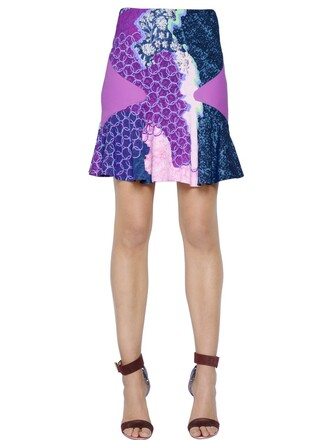 skirt printed skirt blue purple