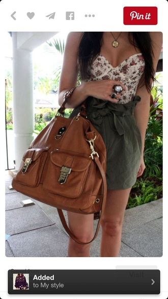 top bustier floral bustier white top strapless outfit cute top high waisted shorts shorts bag handbag