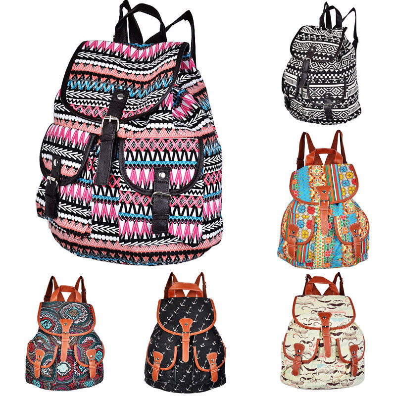 Vintage Womens Canvas Travel Rucksack Hobo School Bag Satchel Bookbags Backpack