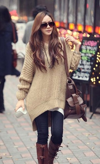 oversized sweater jeans boots bag sunglasses sweater shirt large beige brown