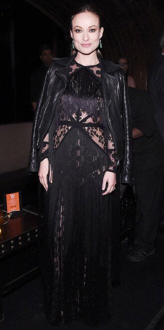 dress black dress gown lace dress olivia wilde jacket long prom dress