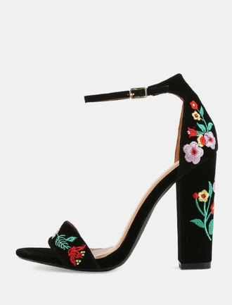 shoes black heels high heels floral dress velvet ankle strap heels embroidered open toes chunky heels cute shoes floral