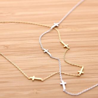 cross necklace necklace jewels sideways cross tiny sideways cross necklace