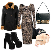 dress,leopard print,platform shoes,bodycon,coat,fur,winter outfits,festive