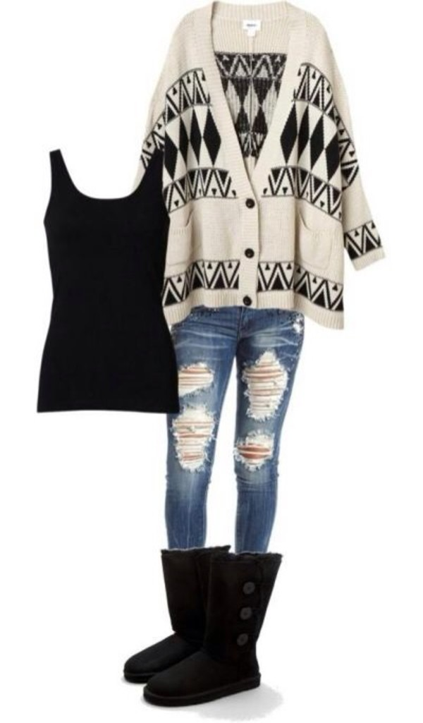 sweater aztec knitted cardigan jeans cardigan
