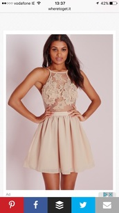 dress,nude dress,mini dress,missguided,nude,blouse,as is shown