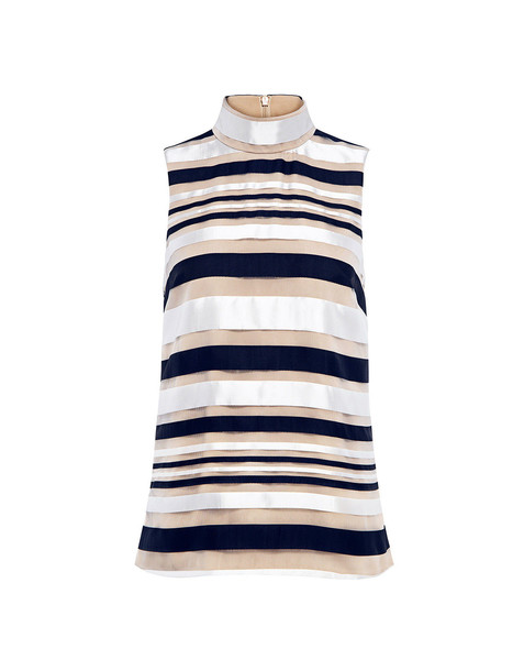 Finders Keepers Paper Planes Stripe High Neck Top Navy/beige Stripe