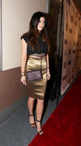 skirt kylie jenner crop tops black gold pencil skirt