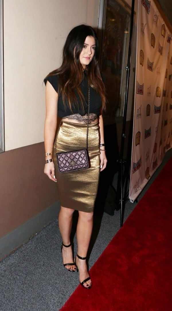 skirt kylie jenner crop tops black gold pencil skirt