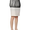 Silk & cotton twill fringed pencil skirt
