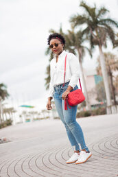 pinksole,blogger,sunglasses,jewels,shirt,jeans,shoes,bag,gucci bag,red bag,shoulder bag,sneakers,white shirt