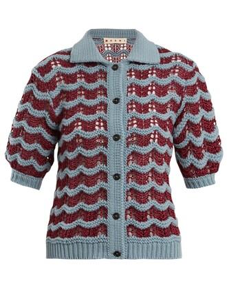cardigan wool knit blue sweater