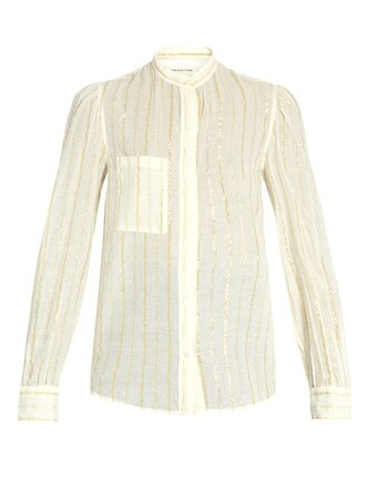 shirt striped shirt cotton white top